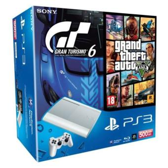 console sony ps3 ultra slim 500 go blanche gran turismo 6 gta 5 console de jeux de salon. Black Bedroom Furniture Sets. Home Design Ideas