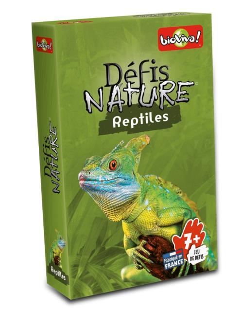 Défis Nature vous emmène à la rencontre des reptiles les plus surprenants de notre planète. Au travers de cartes superbement illustrées découvrez les particularités des espèces animales les plus répandues comme les plus menacées, puis pariez sur les point