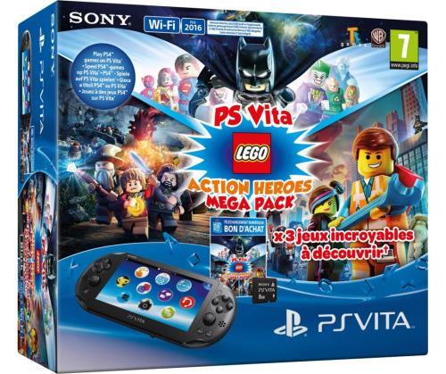 Pack Console Sony PS Vita Noire + Mega Pack Lego + Carte mémoire 8 Go