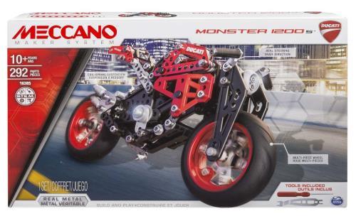 DUCATI Meccano : Tiens-toi prêt à entrer en piste à bord de cette superbe réplique de Ducati ! De nombreuses fonctions et un design inédit ! C´est à toi de jouer ! Suspension et direction fonctionnelles. Outils et notice de montage inclus. À partir de 10