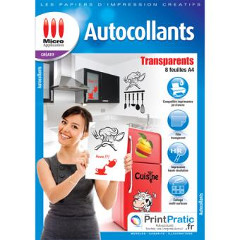 Micro application transparent autocollant a4 5091 papier for Papier imprimante autocollant exterieur