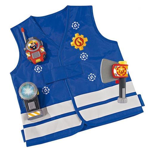 Se tenir prêt en cas d´urgence avec le kit du pompier Sam. Il contient : une veste de pompier, une hache, une torche lumineuse qui fonctionne réellement et un talkie-walkie (sons mécaniques) pour rester en contact avec toute l´équipe de pompiers. Fonction