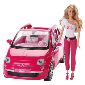 home speelgoed barbie barbie s life barbie fiat 500 mattel roze pop ...