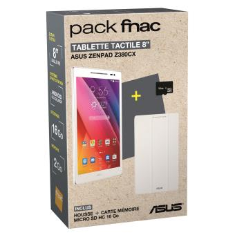 pack fnac tablette asus z380cx 1b014a 8 16 go wifi blanc. Black Bedroom Furniture Sets. Home Design Ideas