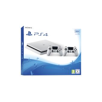 console sony ps4 slim 500 go blanche 2 manettes dual. Black Bedroom Furniture Sets. Home Design Ideas