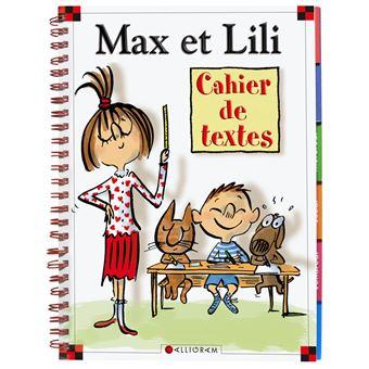 cahier de texte max et lili