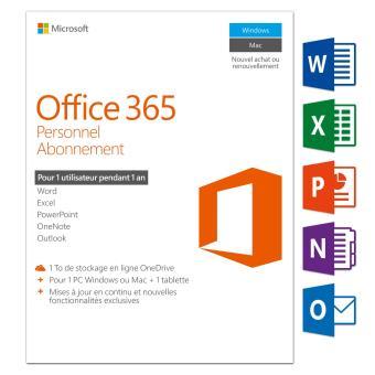 office 365 personnel 1 pc windows mac 1 tablette abonnement 1 an logiciel pc achat prix. Black Bedroom Furniture Sets. Home Design Ideas