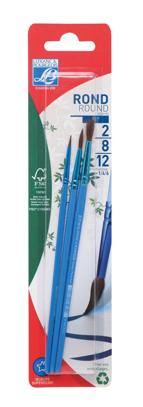 Blister de 3 pinceaux Color&Co poil de poney n°2 + n°8 + n°12 pour 2€