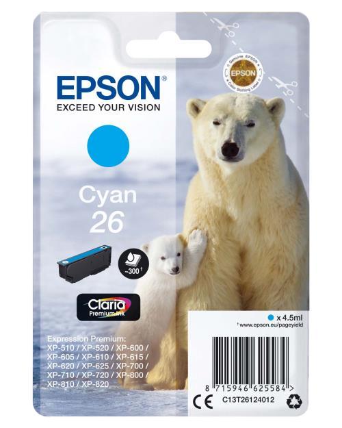 Cartouche d´encre Epson Série Ours Polaire 26 - Cyan