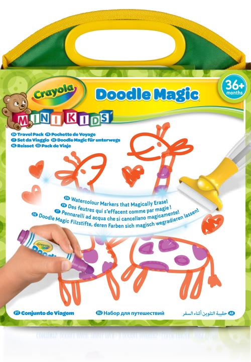Pochette de voyage Doodle Magic Toute la technologie Doodle Magic dans une pochette de voyage : dessine partout même en voyage ! La pochette contient 1 pochette de voyage, 3 feutres, 1 effaçeur et 1 chiffon. Avec Doodle Magic, dessine et efface les dessin
