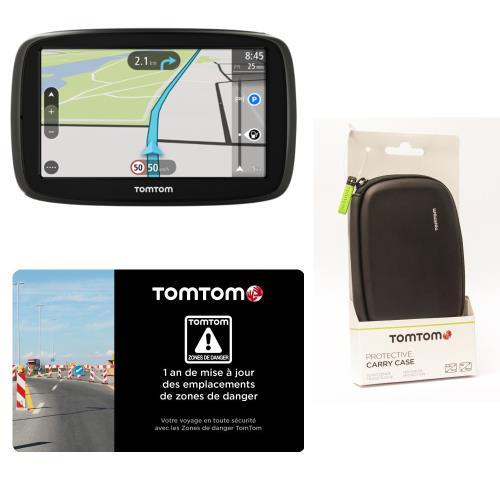 GPS TomTom Start 50 Europe 45 Pays Cartographie à vie + Housse de protection + 1 An de mise à jour des emplacements de zones de danger