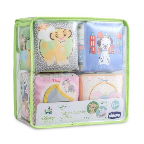 Redécouvrez l´univers des plus grands classiques Disney avec ces 4 cubes en tissus représentant le Roi Lion, Bambi, les 101 Dalmatiens et Dumbo.Chaque cube propose une activité manuelle différente. Faciles à saisir et à empiler. Activités d´éveil : tintem