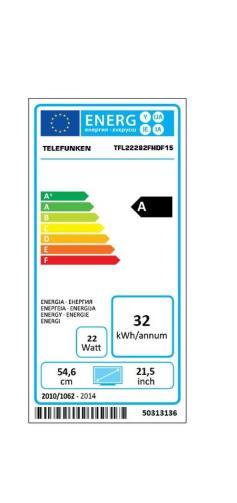Fiche énergétique de TV Telefunken TFL22282FHDF15 Full HD