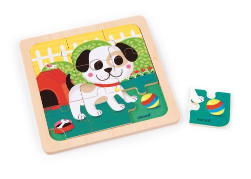 Puzzle en bois illustré sur le thème du chien. Le support imprimé aidera votre enfant à recomposer plus facilement son puzzle. Une encoche est prévue pour retirer les pièces plus facilement. Tout en s´amusant, votre enfant développera sa motricité et son