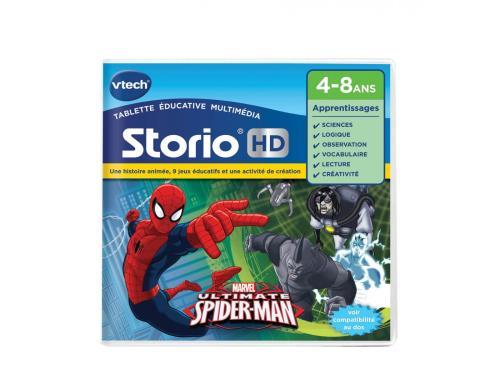 STORIO - Jeu éducatif HD « Spider-Man » - 4 - 8 ans Compatible avec toutes les tablettes Storio (sauf Storio 1) et la console Storio TV. Cartouche comprenant 1 histoire animée, 9 jeux éducatifs et 1 activité créative en compagnie de ton héros Spider-Man !
