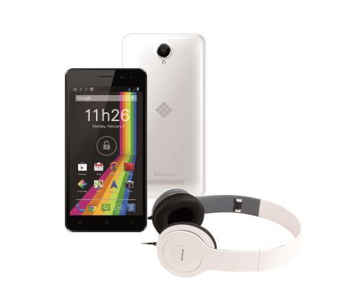 Pack Smartphone Polaroid Phantom Double SIM 4 Go Blanc + Casque audio Blanc