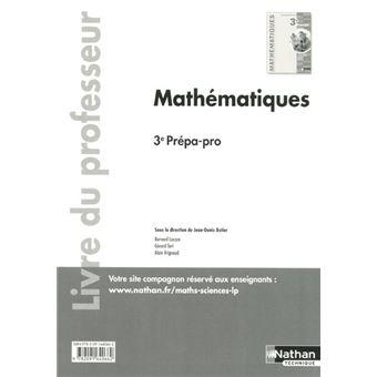 Mathématiques 3E Prépa-pro 2016 - Livre du professeur
