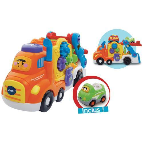 Tut Tut Bolides - Mon super camion transporteur - 1 - 5 ans Le camion peut transporter 2 véhicules sur la plateforme supérieure et 2 à l´intérieur. La plateforme se déplie pour pouvoir lancer les véhicules à toute vitesse depuis l´étage ou s´ouvre complèt