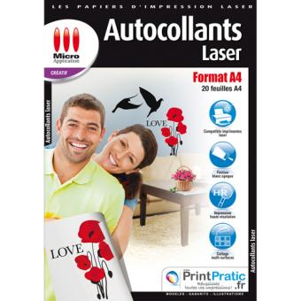 Micro application papier autocollant laser photo a4 for Papier imprimante autocollant exterieur