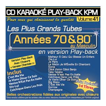 Play back KPM volume 41 Tubes années 70 & 80 au masculin Karaoké