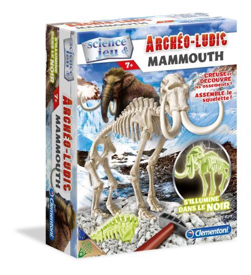 Ce coffret permet aux enfants de voyager dans le passé. Grâce à un burin et à un marteau, les enfants pourront creuser dans un bloc de terrain, y découvrir des restes fossilisés du Mammouth pour ensuite assembler son squelette.