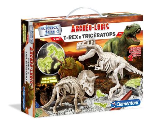 Ce kit permet de creuser dans les terrains rocheux et de retrouver les fossiles de deux animaux préhistoriques rencontrés par l´Homo Sapiens : le T-Rex et le Tricératops