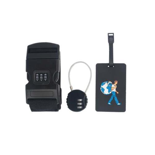 Image accompagnant le produit Kit de voyage sécurité 3 en 1 Le Routard Noir