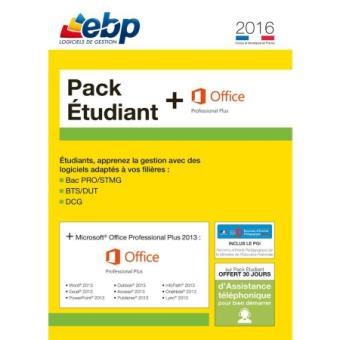 Ebp pack etudiant 2016 microsoft office professional plus 2013 1 licence pc dvd rom - Pack office etudiant 2013 ...