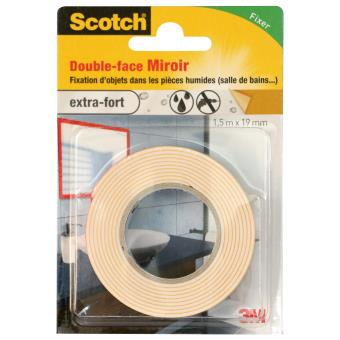 Double face pour mirroir scotch blanc 1 5 m x 19 mm - Comment enlever du scotch double face ...