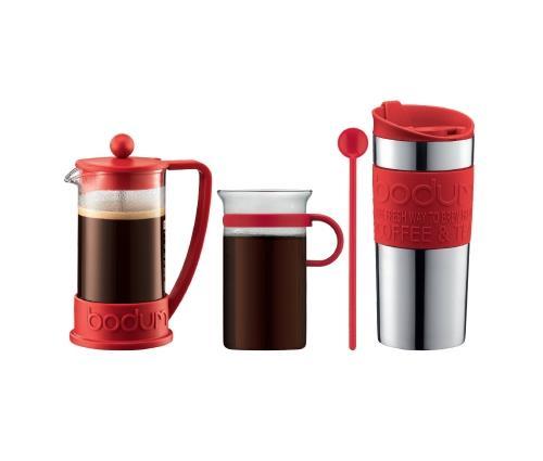 Image du produit Set Brazil Bodum avec Cafetière à piston 3 tasses, Mug de voyage inox et Verre à café Rouge
