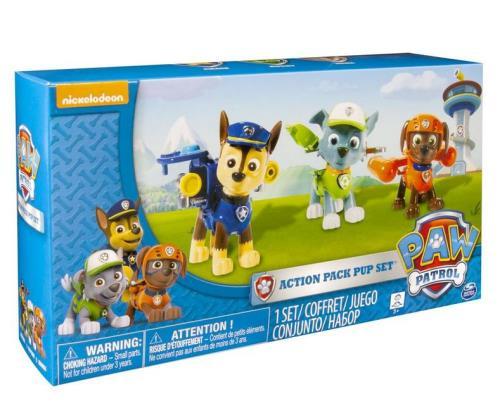 Un pack comprenant les figurines de Chase, Rocky et Zuma. Quand tu appuies sur leur badge, leur sac à dos s´ouvre !