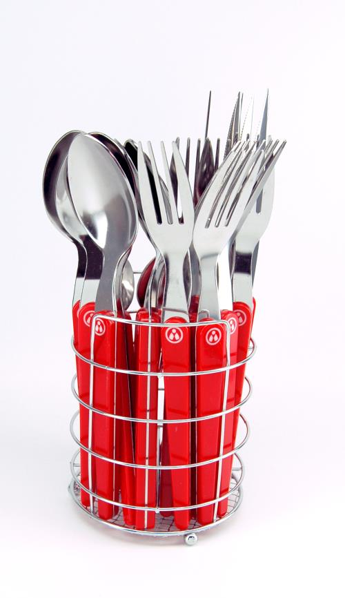 menagere 24 pieces rouge