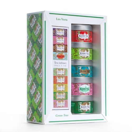Image du produit Coffret de 5 Thés Kusmi Tea Les Verts + Infuseur