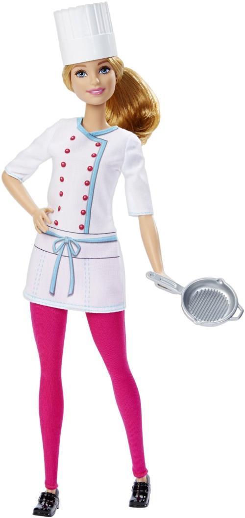 Barbie accroche une nouvelle étoile à sa toque de cuisinier. Blouse blanche sur pantalon fuchsia, Barbie présente sa dernière création culinaire. Poupée Barbie vendue avec ses accessoires.