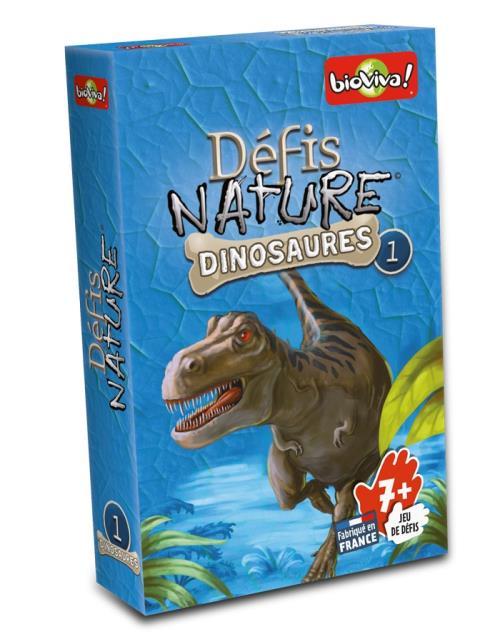 Défis Nature - Dinosaures 1 Bleu est un jeu de carte pédagogique Bioviva qui vous emmènera à la rencontre des dinosaures les plus fascinants ! De superbes illustrations vous feront découvrir les étonnantes caractéristiques de ces animaux disparus il y a d