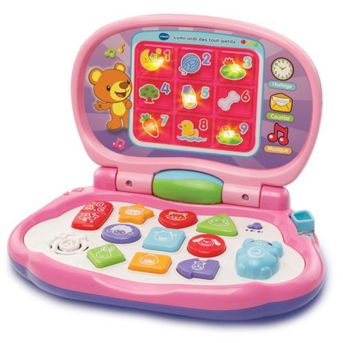 Lumi ordi des tout-petits rose - 12 - 36 mois Un super ordinateur avec 9 touches interactives pour découvrir les formes, les animaux et les couleurs. Avec une souris directionnelle pour imiter Papa et Maman, découvrir les chiffres et les notes de musique