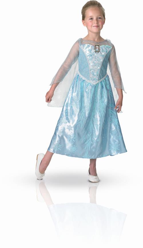Déguisement lumineux et sonore Elsa Reine des Neiges taille M comprenant une robe finition luxe effet satin avec impression à motifs pailletés sur le jupon. Buste avec effets lumineux et médaillon à l´effigie d´Elsa avec fonction musicale diffusant un ext