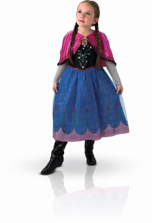 Déguisement lumineux et sonore Anna Reine des Neiges taille M comprenant une robe finition luxe effet satin avec jupon tulle pailleté, impression bordure et motif fleurs pailletées. Buste avec effets lumineux et médaillon à l´effigie d´Anna avec fonction