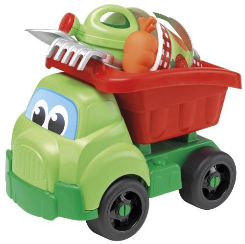 Un grand camion benne de 42 cm aux formes rondes garni d´un seau décoré de 16 cm, d´un arrosoir, d´une doublette et d´un moule à sable en forme de légume. Fabrication Française.