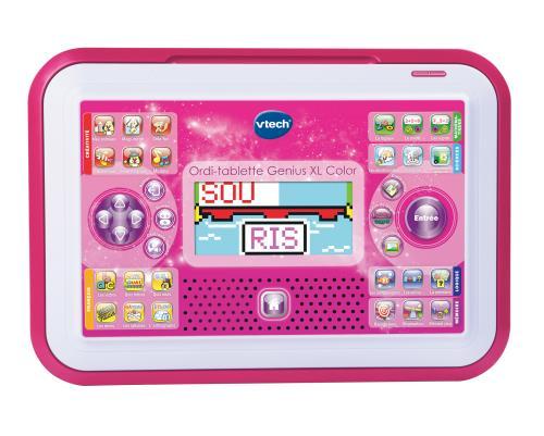 Ordi-tablette Genius XL Color rose - 5 - 8 ans 2 en 1 : une tablette éducative avec écran couleur qui se transforme en ordinateur portable ! Un format original : se transforme de tablette en ordinateur d´un glissement de doigts ! 80 activités réparties en