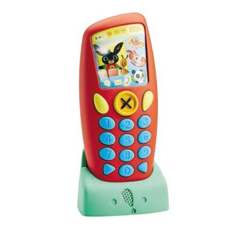 Voici le téléphone de Bing! Aux couleurs de Bing, ce téléphone permet de revivre les échanges entre Bing et ses amis. En appuyant sur les touches du téléphone, les voix de Bing, Sula, Pando ou Coco retentissent pour discuter et se donner rendez-vous pour