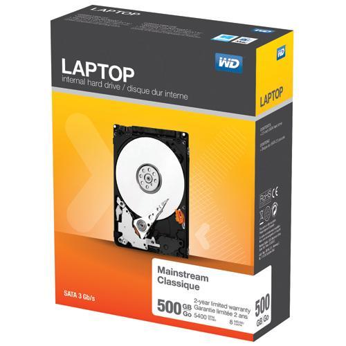 Western Digital - Disque dur interne pour ordinateurs portables - Capacité : 500 Go - Facteur de forme : 2,5 - Compatible Windows 8/7/Vista/XP, Mac OS X Mountain Lion, Lion, Snow Leopard