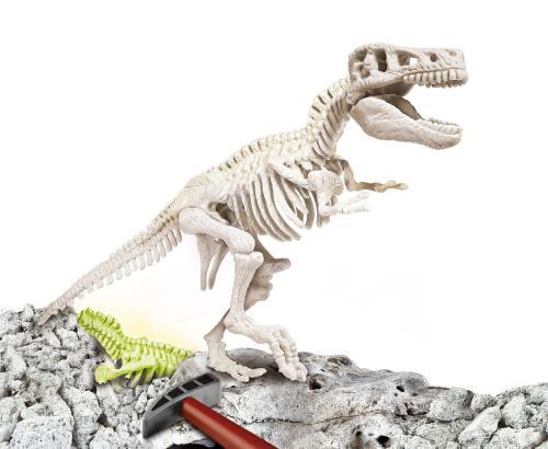 Ce coffret permet aux enfants de voyager dans le passé. Grâce à un burin et à un marteau, les enfants pourront creuser dans un bloc de terrain, y découvrir des restes fossilisés du T-Rex pour ensuite assembler son squelette.