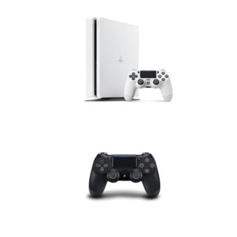 console sony ps4 slim 500 go blanche manette dual shock. Black Bedroom Furniture Sets. Home Design Ideas