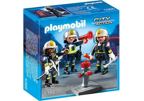 Les pompiers munis de leur équipement moderne, se tiennent près de la bouche à eau au cas où un incendie se déclenche ! Contient trois personnages, une bouche à eau et de nombreux accessoires (lampe torche, talkie walkie, mégaphone, marteaux , .).