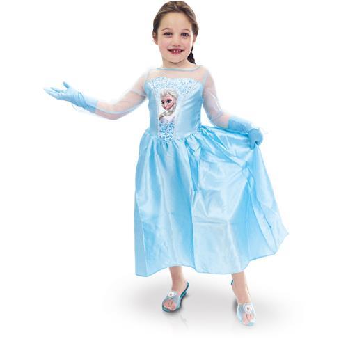 Panoplie classique Elsa + accessoires taille 5-6 ans comprenant un déguisement classique + 1 paire de gants + 1 paires de mules à l´effigie d´Elsa.