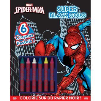 Spider man coloriage avec 8 crayons super black colo disney boites et accessoires - Coloriage spiderman black ...