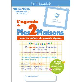 l 39 agenda de mes 2 maisons pour les enfants de parents s par s le m moniak 2014 de septembre. Black Bedroom Furniture Sets. Home Design Ideas