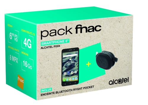 Pack Fnac Smartphone Alcatel Pixi 4 16 Go Double SIM Noir + Enceinte Bluetooth Ryght Pocket