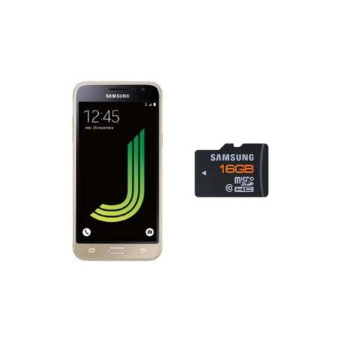 Smartphone Samsung Galaxy J3 2016 8 Go Or + Carte mémoire Samsung Micro SD 16 Go Class 10 + Adaptateur